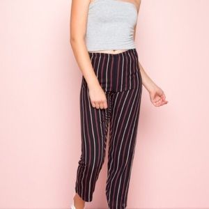 Red White and Black Striped Loose Pants